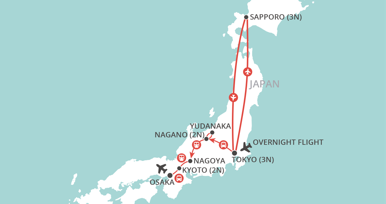 Sapporo & Snow Monkeys map