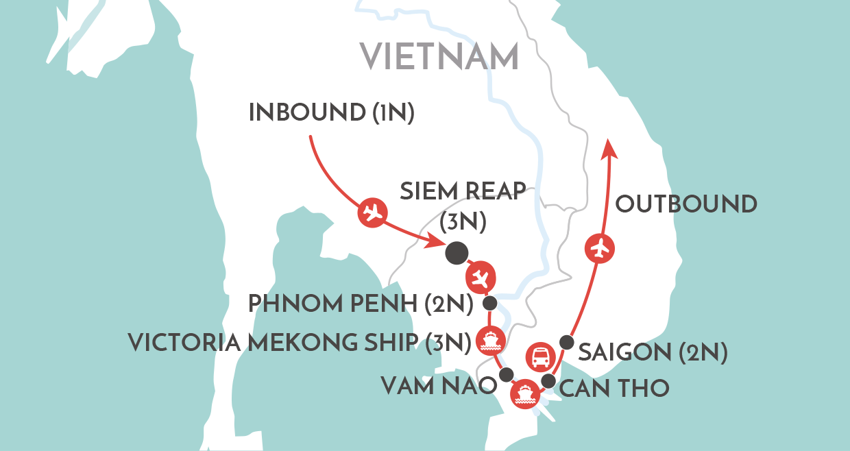 Mekong Impressions Private Tour map