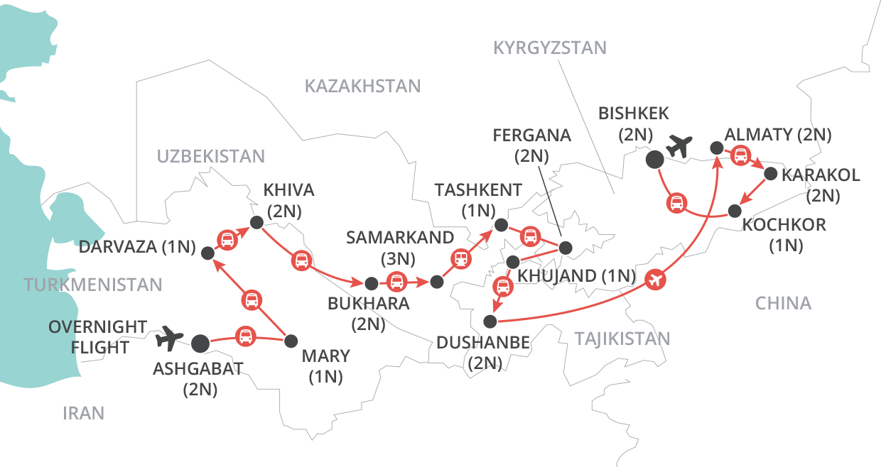 Journey Through Central Asia map