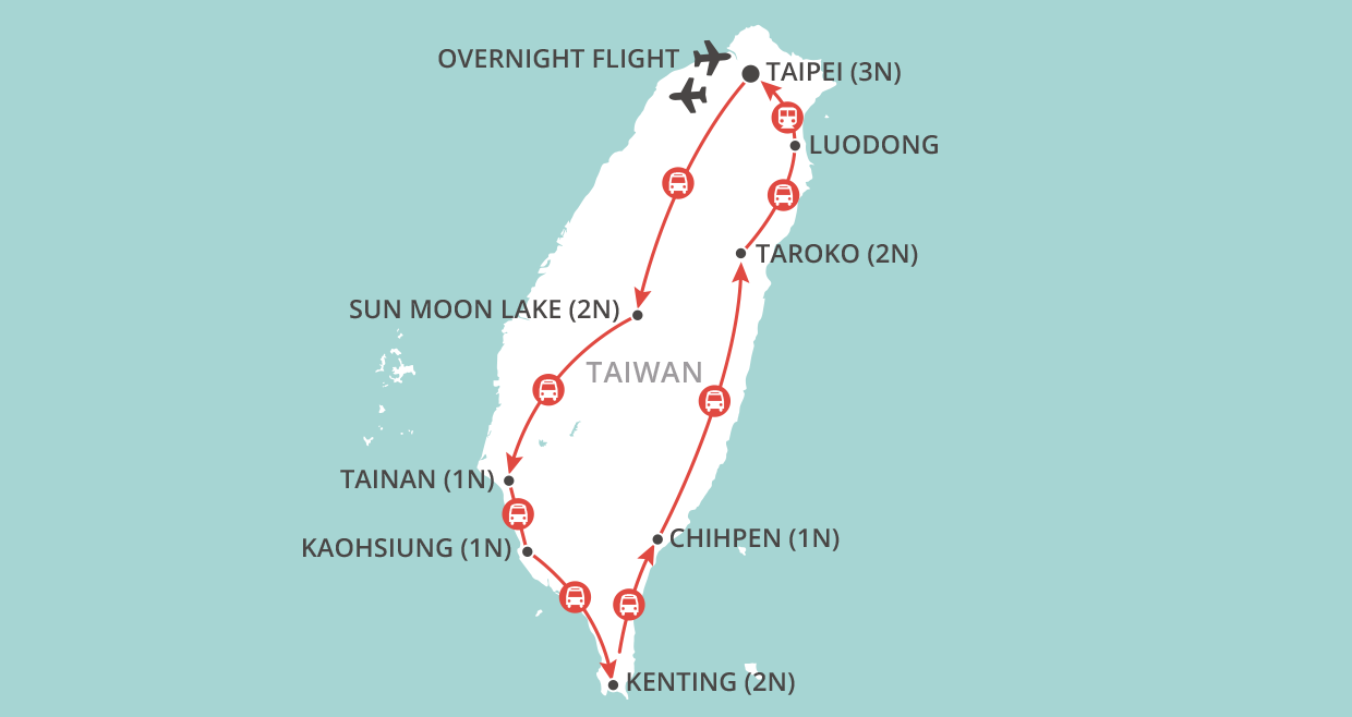 Treasures of Taiwan map