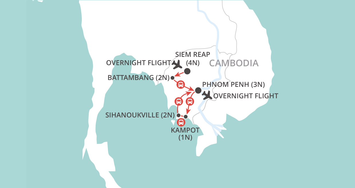 Around Cambodia map